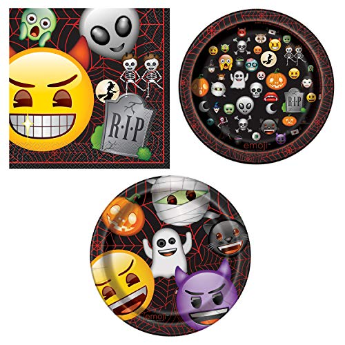 Unique Emoji Halloween Party Bundle | Luncheon Napkins, Dinner & Dessert Plates | Great for Halloween Parties and Emoji-Themed Celebrations