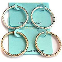 Clip-on Earrings Textured Hoop Gold Or Silver Tone 1 inch Hoops Hypo-Allergenic