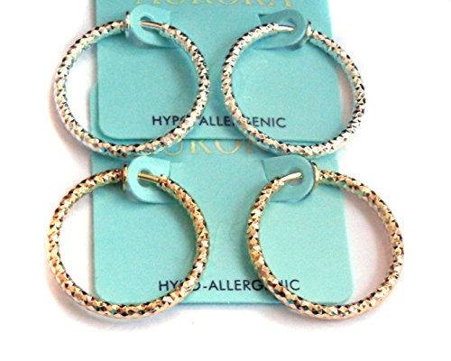 Clip-on Earrings Dia Cut Hoop Gold Or Silver Tone 1 inch Hoops Hypo-Allergenic (silver) ()