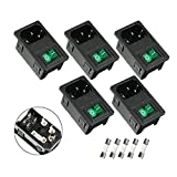 uxcell 5PCS IEC 320 C14 Power Supply Connector w Green Light Switch + Fuse