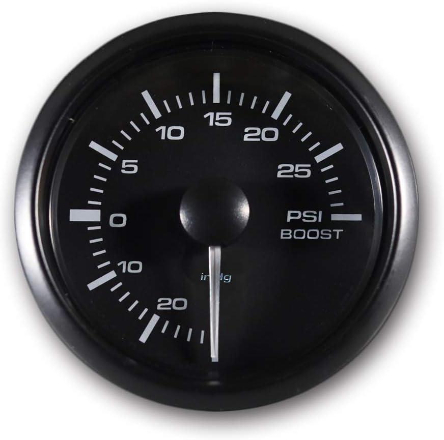 MOTOR METER RACING White Amber Digital 30 PSI Boost/Vacuum Gauge Kit Includes Electronic Pressure Sensor Waterproof Pin-Style Install