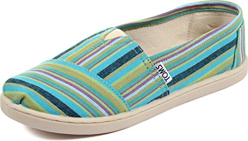 Toms - Youth Slip-On Shoes In Blue Cultural Stripe, Size: 4.