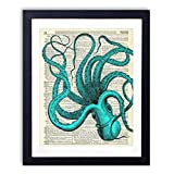 Blue Octopus Upcycled Wall Art Vintage Dictionary Art Print 8x10 inches / 20.32 x 25.4 cm Unframed
