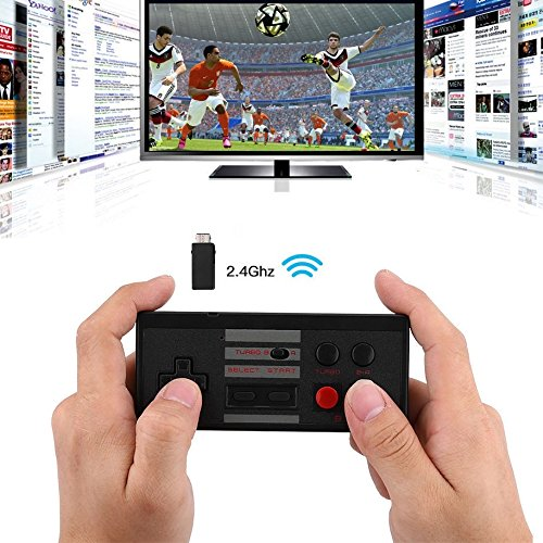 Wireless NES Classic Mini Rechargeable Controller,NES Wireless Gamepad For Nintendo Mini NES Classic Edition, Wireless Joypad & Gamepads Controller (Black)