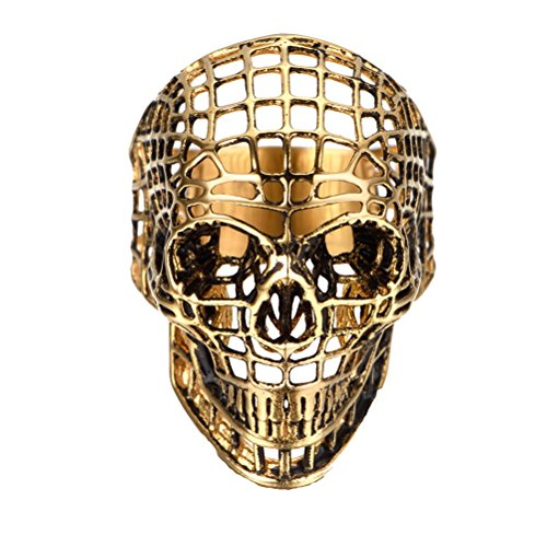 [Superhai Golden Skull Fashion Personality Hollow Titanium Stainless Steel Rings] (Punisher Costumes For Sale)
