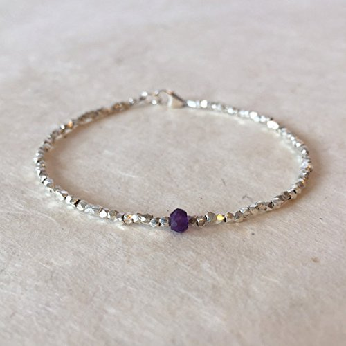 (JP_Beads Amethyst Karen Hill Tribe Thai Silver Beaded Bracelet, Sundance Style, Boho Stacking Bracelet 4mm)