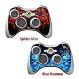 2pcs Skin Stickers for Xbox 360 Controllers - Vinyl Leather Texture Sticker Slim Game Controller - Protectors Stickers Controller Decal - Spider Man&Blue Daemon [ Controller Not Included ]