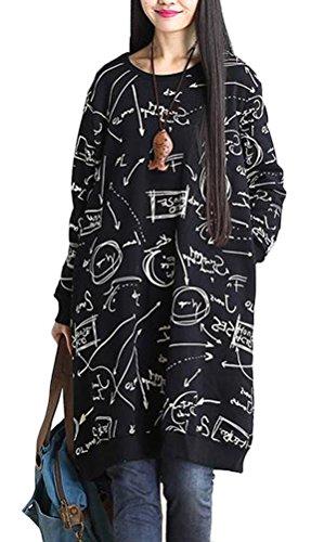 Vogstyle Mujeres nuevo vestido cuello redondo con estampado Black-Style 3