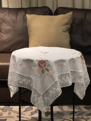 Birchbark White Cloth Lace Tablecloths For Home Wedding Party Square 35X35  Inch For Round Table