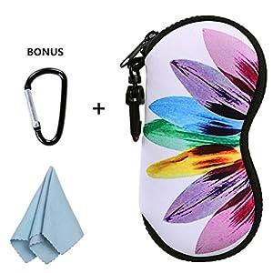 xhorizon FLK Sunglasses Soft Case Ultra Light Neoprene Zipper Eyeglass Case w/ Belt Clip with Bonus D-ring Hook and Large Cleaning Cloth