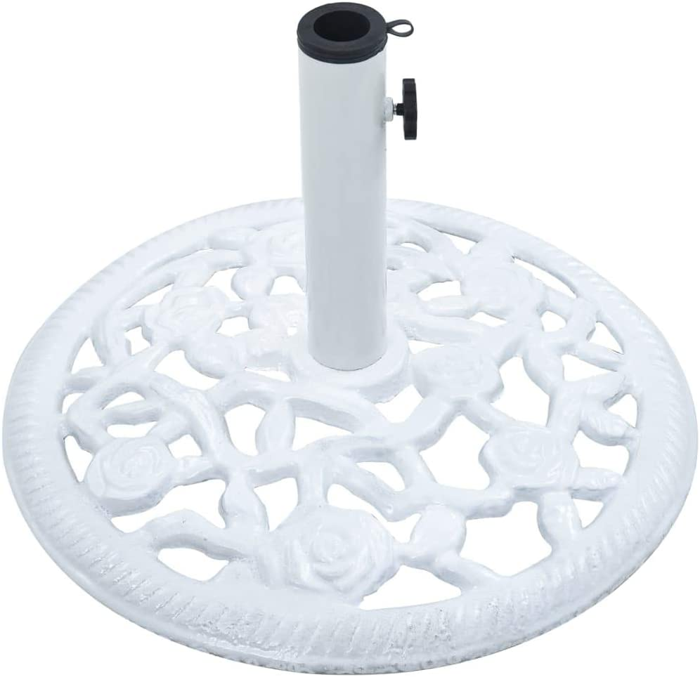 Festnight Pied de Parasol Socle de Parasol Blanc 12 kg 48 cm Fonte