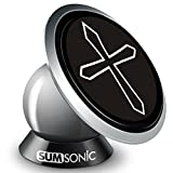 Sumsonic Magnetic Universal Smartphone Car Mount Holder Cradle for All Phone Sizes, Apple or Android, Easy Install on Any Surface Including Desk, Wall, or Car Dashboard -Luxurios Design & Good Gift Idea (Cross)