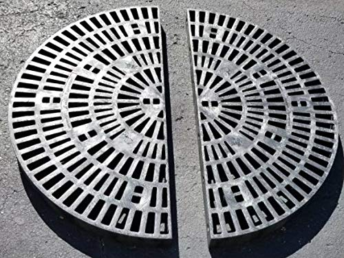 36 Inch x 36 Inch Circle Heavy Duty Fountain Basin Grate - (2) 18 Inch x 36 Inch Half Circle Reservoir Grates - for Pond and Water Garden Features and More - Will Not Rust - Black