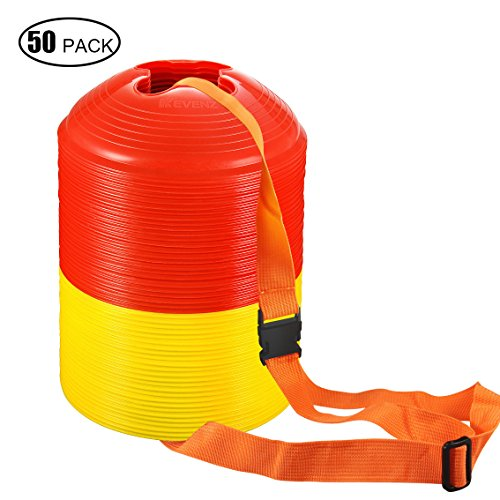 50 Counts Kevenz Plastic Sport Soccer Disc Cones Markers for Football Training (50-Pack) (Yellow/Red) (20 Disc Cones compare prices)