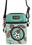 Chala Crossbody Cell Phone Purse - Women PU Leather Multicolor Handbag with Adjustable Strap - Turtle - Teal Striped