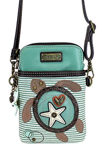 Tortoise Bag - Chala Crossbody Cell Phone Purse - Women PU Leather Multicolor Handbag with Adjustable Strap - Turtle - Teal Striped