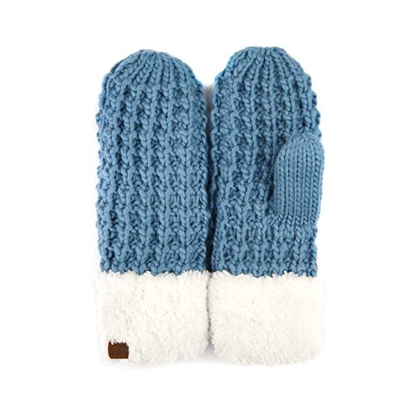 C.C Women Thick Knit Faux Fur Sherpa Fleece Lined Warm Winter Gloves Mittens (CG-36)