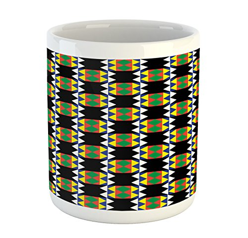 Ambesonne Kente Pattern Mug, Traditional Style Design with Triangular Details Funky Pattern Print, Ceramic Coffee Mug Cup for Water Tea Drinks, Multicolor
