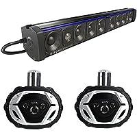 Hifonics Thor Powered Bluetooth Sound Bar + Boss 6x9 550W 4-Way Boat Speakers