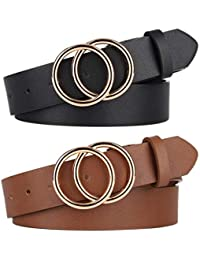 Pack 2 Women Belts for Jeans with Fashion Double O-Ring Buckle and Faux Leather