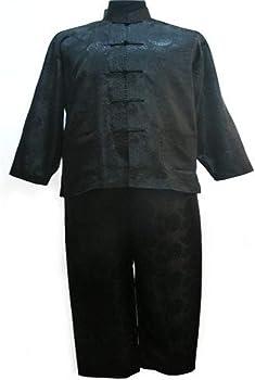 Chino Estilo de los Hombres de Pijamas Set Raso Botón Pijamas de época Juego de la Camisa y Las Bragas de la Ropa de Noche Ropa de Dormir (Color : Black, Size :