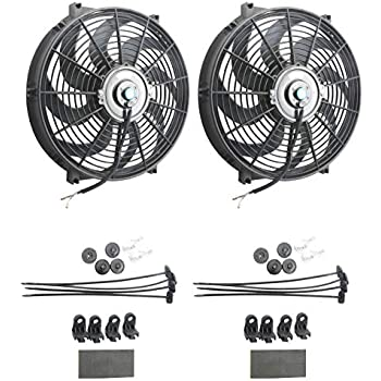Upgr8 Universal High Performance 12V Slim Electric Cooling Radiator Fan With Fan Mounting Kit (14 Inch Black, 2 Pack)