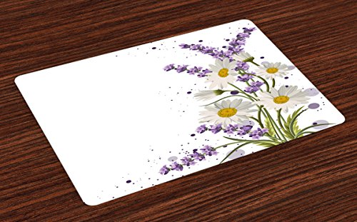 Lunarable Lavender Place Mats Set of 4, Vivid Bouquet with Daisies Color Slashes Scenic Modern Artistic, Washable Fabric Placemats for Dining Room Kitchen Table Decoration, Lilac Reseda Green Marigold