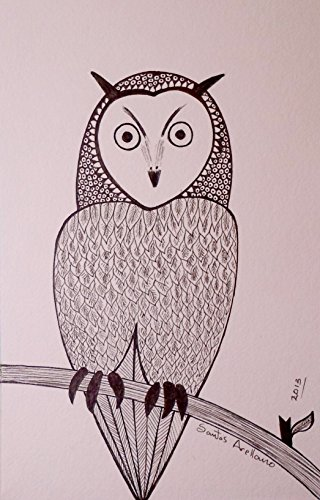 Abstract OWL - ORiGINAL Drawing Modern black Ink on STRATHMORE heavy weight paper by Santos Arellano - Art & Crafts