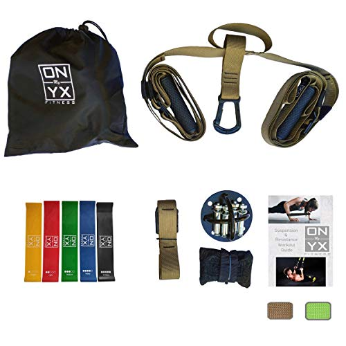 (All in One Suspension & Resistance Training Set Includes: Bodyweight Strength Suspension Straps Kit | 5 Exercise Loop Bands | Wall Ceiling Mount Anchor | Workout Guide for Home & Gym (Navy))