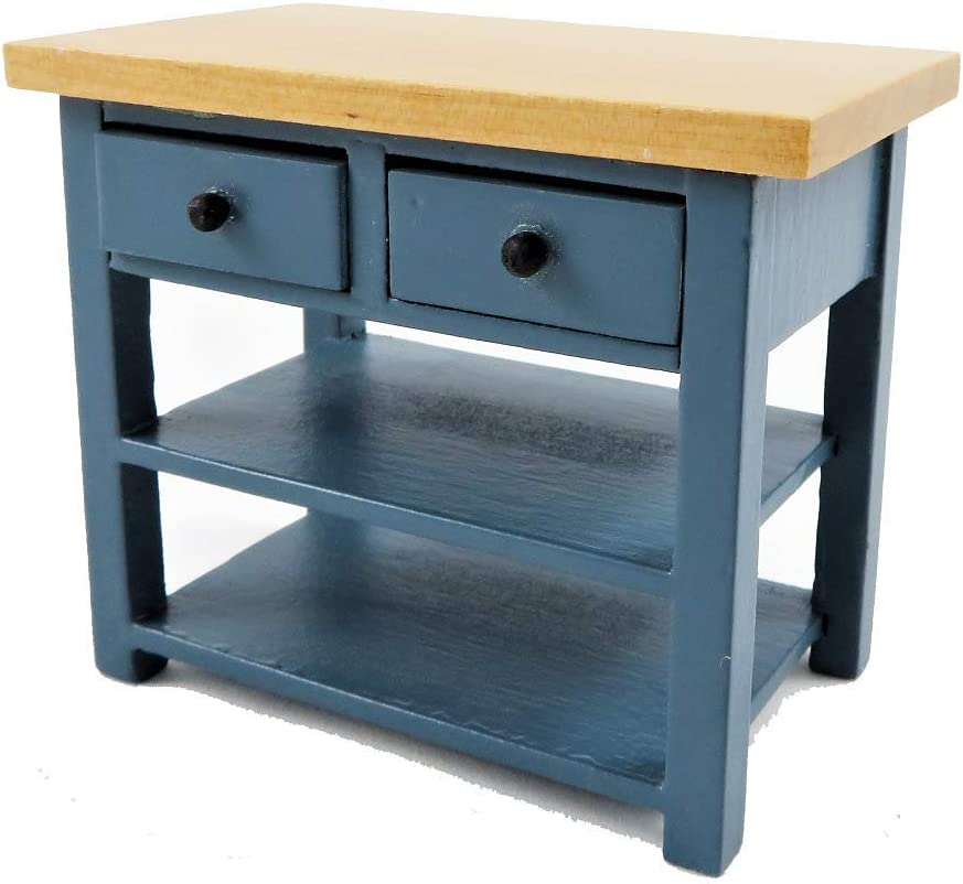 Melody Jane Dollhouse Blue & Pine Island Work Table Modern Miniature Kitchen Furniture