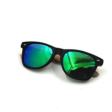 Plastic Bamboo Arms Sunglasses Green Polarized Lenses Black Men Women Sunglasses (Black, Red)