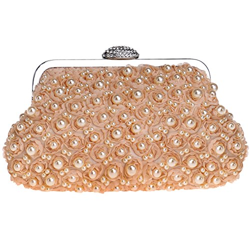 Wallet Dress Pearls Chain Wedding Womens Pink Bag Bags Purses Ladies Clutches Champagne Evening Bead q6YUxA