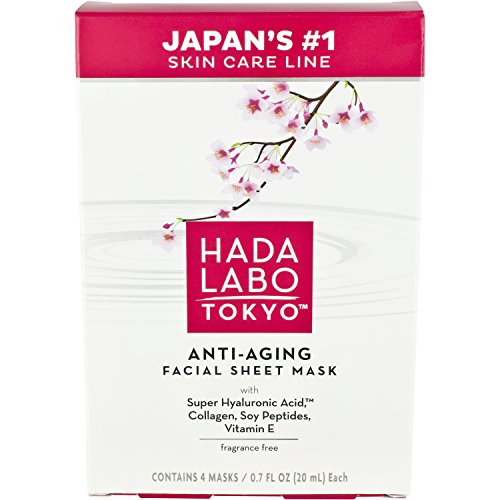 Hada Labo Tokyo Anti-Aging Facial Sheet Mask, 4 masks, 2.8 FL OZ each - with Super Hyaluronic Acid and Vitamin E - 10 minute at home facial, fragrance free, boosts hydration, helps restore firmness