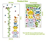great tiger wall decals Wall Sticker Height Chart Removable DIY Growth Chart Wall Decals Room Decor Wall Art Stickers Monkey Elephant Tiger Frog for Kids Boys Girls