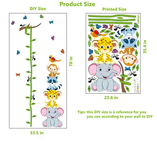 Wall Sticker Height Chart Removable DIY Growth Chart Wall Decals Room Decor Wall Art Stickers Monkey Elephant Tiger Frog for Kids Boys Girls