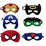 JDProvisions 12 Pieces Superheroes Party Fun Cosplay Felt Masks for Boys Girls