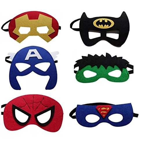 12 Pieces Superheroes Party Character Felt Fun Cosplay Masks Headwear Spiderman Superman Boys and Girls Theme (SuperBoys)