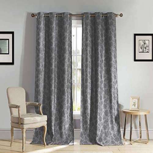 Kelvin – Home Fashion Floral Blackout Room Darkening Grommet Top Window Curtains Pair Panel Drapes for Bedroom, Living Room – Set of 2 Panels – 54 X 84 Inch – Grey