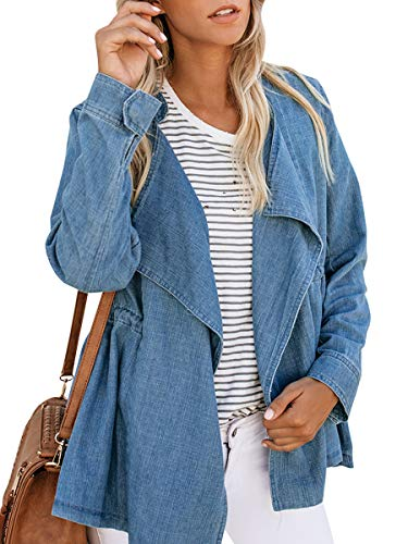 Haloumoning Womens Casual Denim Coat Open Front LooseEmpire Waist Stand Collar Trench Outwear by Haloumoning (Image #1)