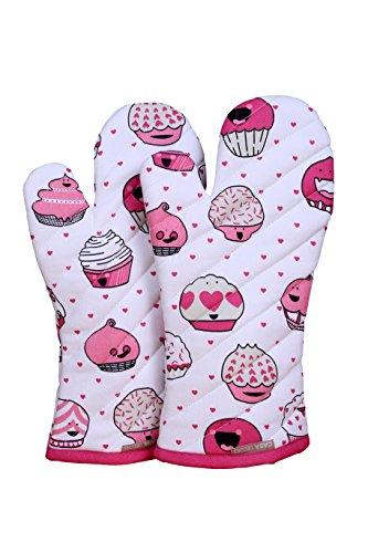 CASA DECORS Oven Mitts, Valentine Cup Cakes Design, Oven Mitts Heat Resistant, Made of 100% Cotton, Eco-Friendly & Safe, Set of 2, Size 7 x 13 Inches, Machine Washable, Kitchen Oven Mitts]()
