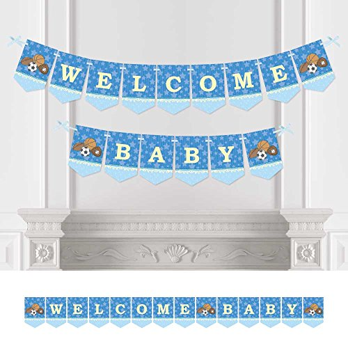 (Big Dot of Happiness All Star Sports - Baby Shower Bunting Banner - Blue Party Decorations - Welcome)