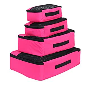 Packing Cube 4 piece Classic Set in Lightweight tear resistant and water resistant ripstop nylon material (Pink)