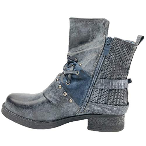 Vitalo Womens Flat Studded Biker Ankle Boots Combat Harness Motorcycle Boots Size 9 B(M) US,2 Grey