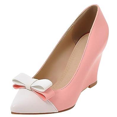 12c3f3722e96 YE Damen Spitze Lack High Heels Keilabsatz Pumps mit Schleife Party Elegant  Schuhe - sommerprogramme.de