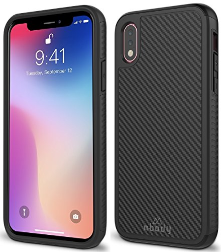 (Mbody by Aduro iPhone X/Xs Case, Sable Carbon Fiber Design Case with Two Layer Shock Absorption and Impact Edge Protection for Apple iPhone X/Xs/iPhone 10 (2018/2017))