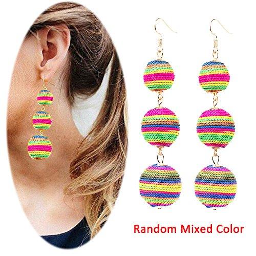 Thread Ball Dangle Earrings Tassel Drop Earring Beaded Lantern Ear Studs Women Linear Tribal Charms Jewelry -