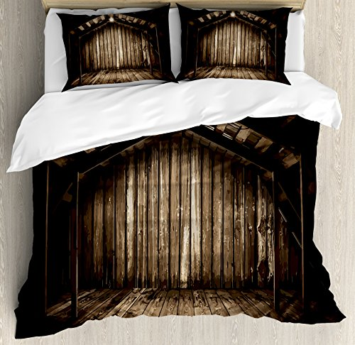 Modern Decor King Size Duvet Cover Set By Ambesonne  Old Wooden Rustic Home Cottage Rural Countryside Grunge Rusty Indoors  Decorative 3 Piece Bedding Set With 2 Pillow Shams  Brown Dark Brown