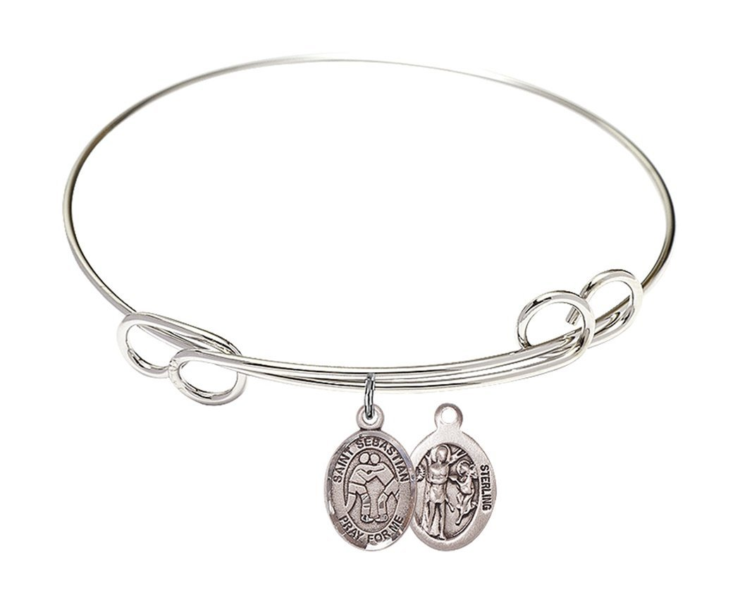 Rhodium Plate Bangle Bracelet with Saint Sebastian Wrestling Athlete Petite Charm, 8 Inch