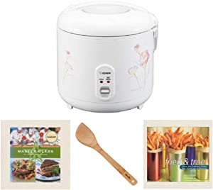 Zojirushi NS-RPC18FJ Rice Cooker and Warmer with 15-Inch Bamboo Spatula and Two Cookbook Bundle (4 items)