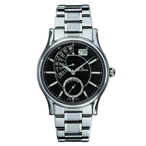 Grovana Men's 1718-1137 Retrograde Analog Display Swiss Quartz Silver Watch